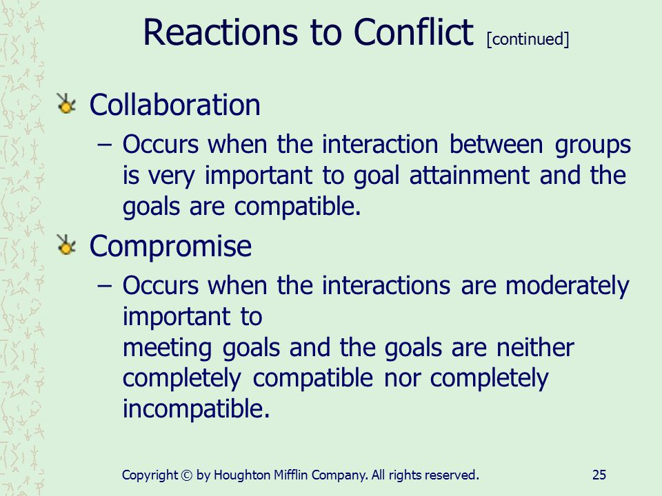 Reactions to Conflict [continued]